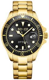 So & Co New York Yacht Timer Musta/Kullansävytetty teräs Ø42 mm 5347.6