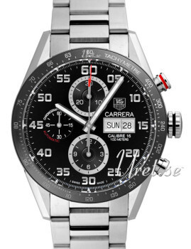 TAG Heuer Carrera Calibre 16 Day Date Automatic Chronograph Musta/Teräs Ø43 mm